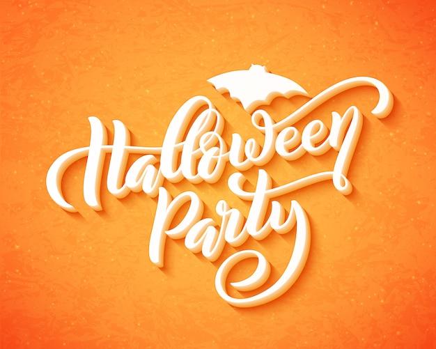 Glückliche halloween-partei hand gezeichnetes kreatives kalligraphiedesign für feiertagsgrußkarte. .