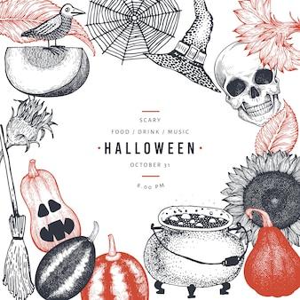 Glückliche halloween-parteieinladungs-kartenschablone mit furchtsamen elementen der skizze