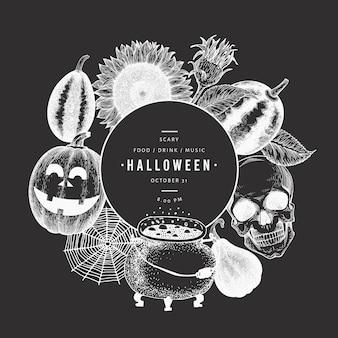 Glückliche halloween-parteieinladungs-kartenschablone mit skizzenillustrationen auf kreidebrett.