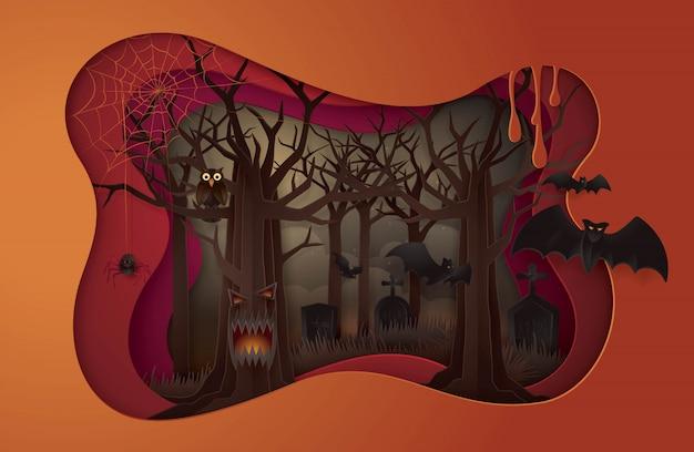 Glückliche halloween-party, abstrakter gespenstischer baum halloweens mit friedhof