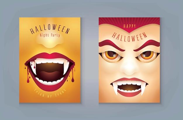 Glückliche halloween-party, abstrakter halloween-gruseliger vampirmund mit blut, graf dracula vampirmaske.