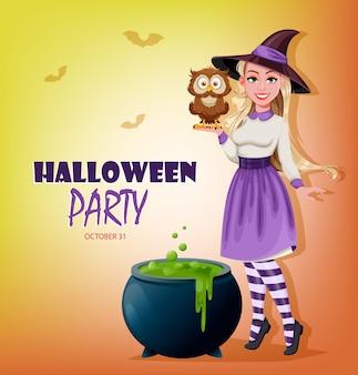 Glückliche halloween-party einladung. schöne hexe