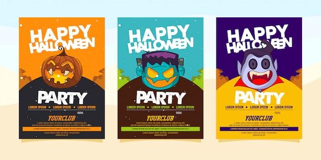 Glückliche halloween-party einladungen mit illustration des halloween-kostüms