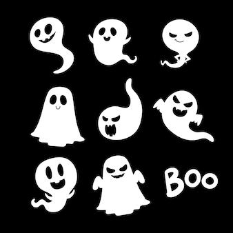 Glückliche halloween-party-grußkarte mit niedlichem geist.