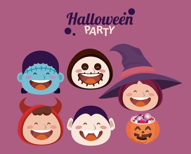 Glückliche halloween-party mit kleinen monsterkopfcharakteren