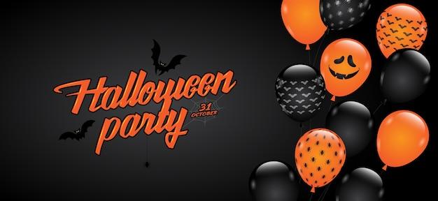 Glückliche halloween-party süßes sonst gibt's saures ballone der fahne