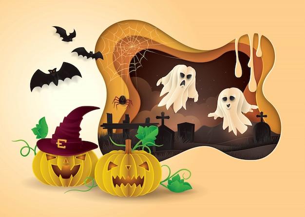 Glückliche halloween-party, zusammenfassung gespenstisch mit friedhof