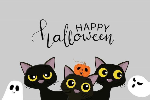Glückliche halloween-partyeinladungskarte mit niedlicher schwarzer katze, kürbis und gruseligem geist.