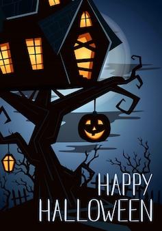 Glückliche halloween-partyfahne mit gespenstischem schloss