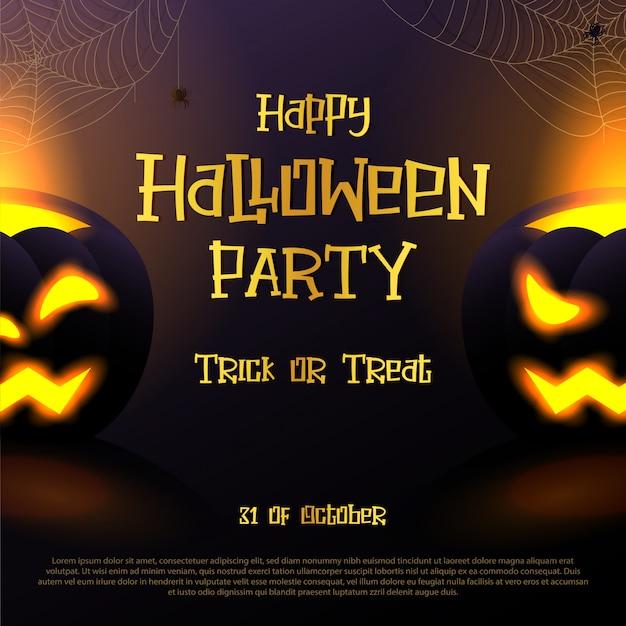 Glückliche halloween-partykarte mit zwei furchtsamen kürbisen und halloween simsen auf dunklem veilchen