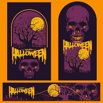 Glückliche halloween-partykarte und -fahne