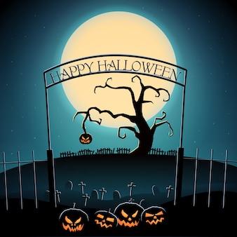 Glückliche halloween-partyschablone mit unheimlichem baum und bösen kürbissen auf friedhof im karikaturstil