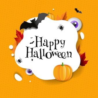 Glückliche halloween-postkarte mit fledermäusen und kürbissen