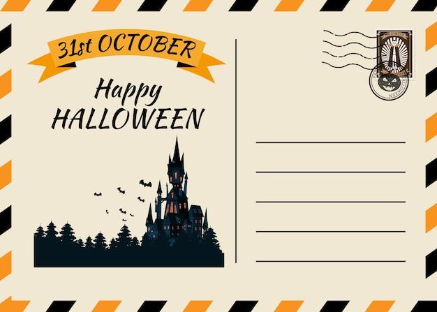 Glückliche halloween-postkarteneinladungsschablone mit briefmarke
