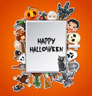 Glückliche halloween-quadratische kartenfeiern