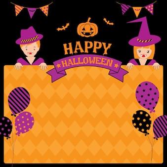 Glückliche halloween-schablone mit kindern