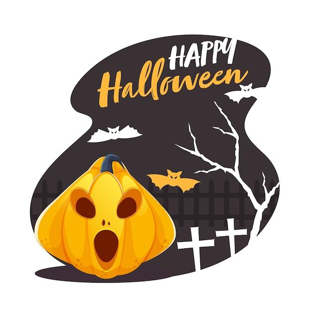 Glückliche halloween-schriftart mit gruseligem kürbis, fliegenden fledermäusen, baum und friedhofskreuz auf abstraktem hintergrund.