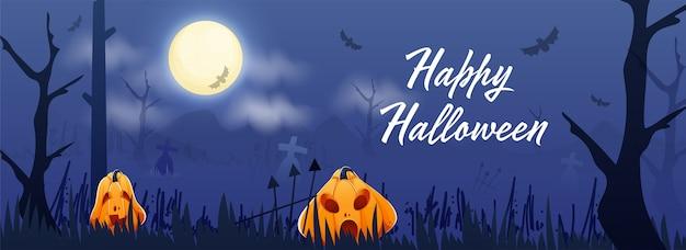 Glückliche halloween-schriftart mit jack-o-laternen und fliegenden fledermäusen auf vollmond-blauem friedhofshintergrund. header oder banner.