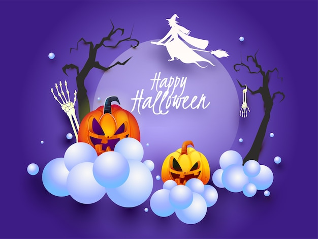 Glückliche halloween-schriftart mit silhouette-hexe, die am besen fliegt