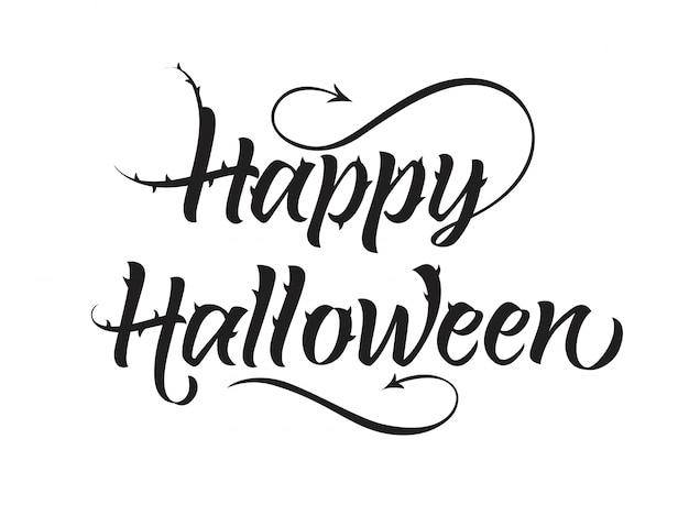 Glückliche halloween-schriftzug mit spikes