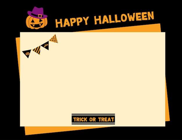Glückliche halloween-seitenrahmenschablone mit kürbis.