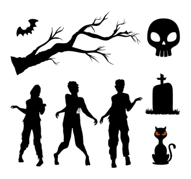 Glückliche halloween-silhouetten setzen dekoration