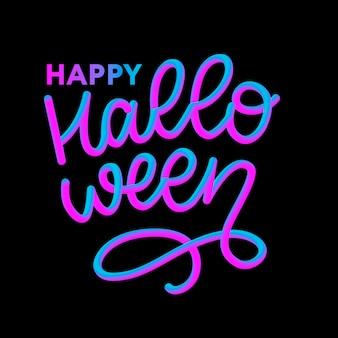 Glückliche halloween-text-fahne, kalligraphie 3d beschriftend