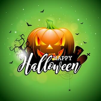 Glückliche halloween-vektor-illustration mit kürbis und friedhof auf grünem himmel hintergrund. feiertagsentwurf mit spinnen und fledermäusen für grußkarte, fahne, plakat, parteieinladung.