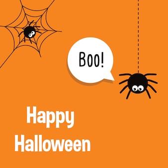 Glückliche halloween-vektorbeschriftung mit spinne und netz.