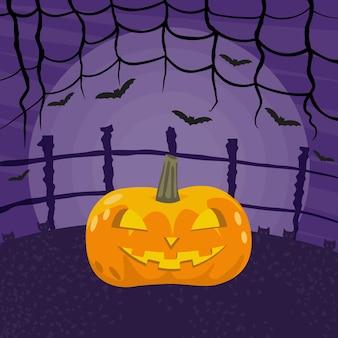 Glückliche halloween-vektorillustration. gespenstischer kürbis, vollmond am himmel, katzen und fliegende fledermäuse.