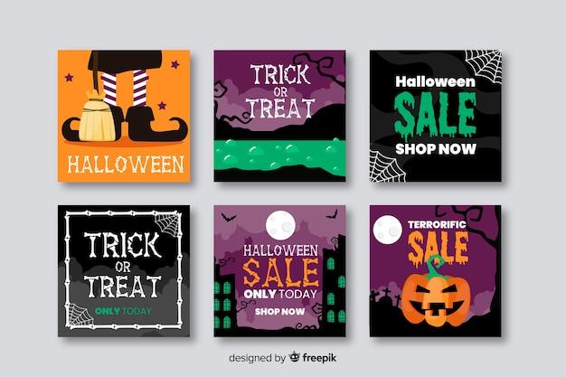 Glückliche halloween-verkäufe für instagram beitragssammlung