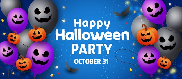 Glückliche halloween-verkaufsfahne mit furchtsamen gesichtsgeistballonen, orange kürbisen, schlägern und goldfunkeln