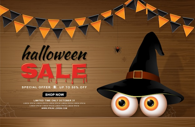 Glückliche halloween-verkaufsfahnen-schablonenaugen mit hexenhut