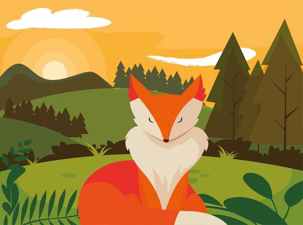 Glückliche herbstsaisonebene fox-säugetiers