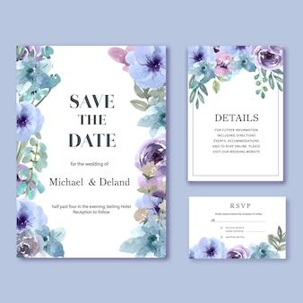 Glückliche hochzeitskartenblumengarten-einladungskartenheirat