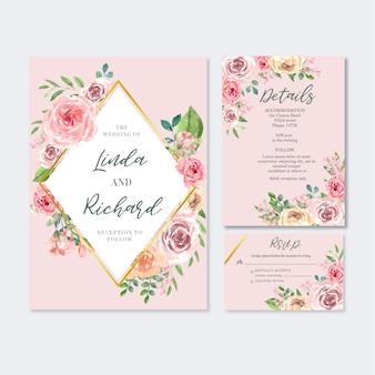 Glückliche hochzeitskartenblumengarteneinladungs-kartenheirat, uawgdetail.