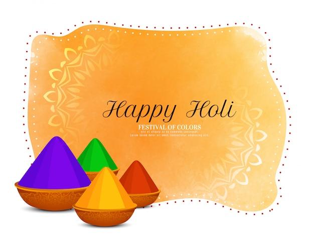 Glückliche holi festivalgrußkarte mit farbtöpfen