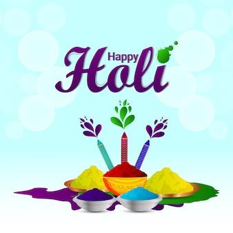 Glückliche holi indische festivalgrußkarte mit pulverschlammtopf und farbtafel