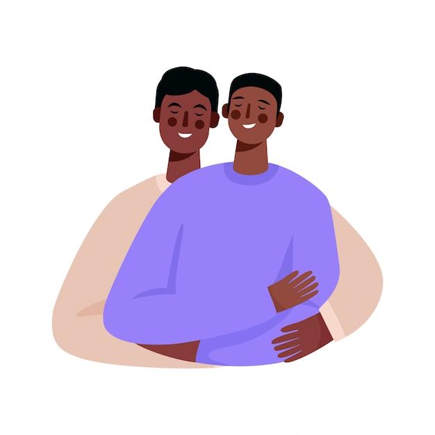 Glückliche homosexuelle familie, schwules paar. zwei männer umarmen sich.