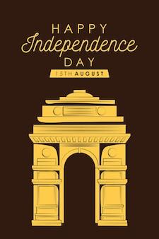 Glückliche indien-unabhängigkeitstagkarte mit arch