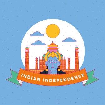 Glückliche indien-unabhängigkeitstagkarte mit krishna