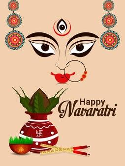 Glückliche indische festivalgrußkarte navratri, flaches designkonzept von navratri