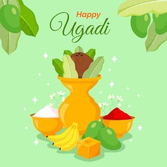 Glückliche indische uase des ugadi mit frucht und buntem pulver