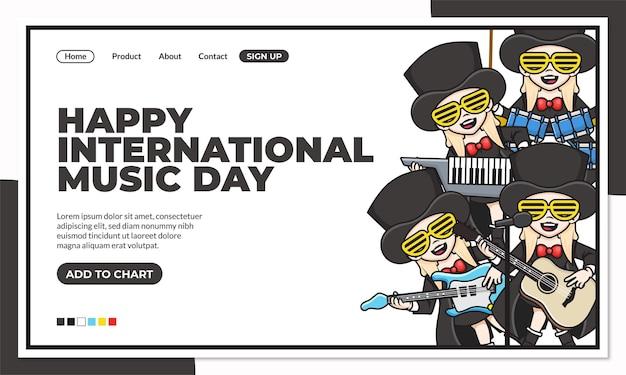Glückliche internationale musiktag-landingpage-vorlage mit niedlicher zeichentrickfigur des bibers