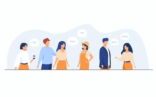 Glückliche internationale studenten, die verschiedene sprachen sprechen
