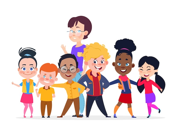 Glückliche internationale studentengruppe mit lehrer