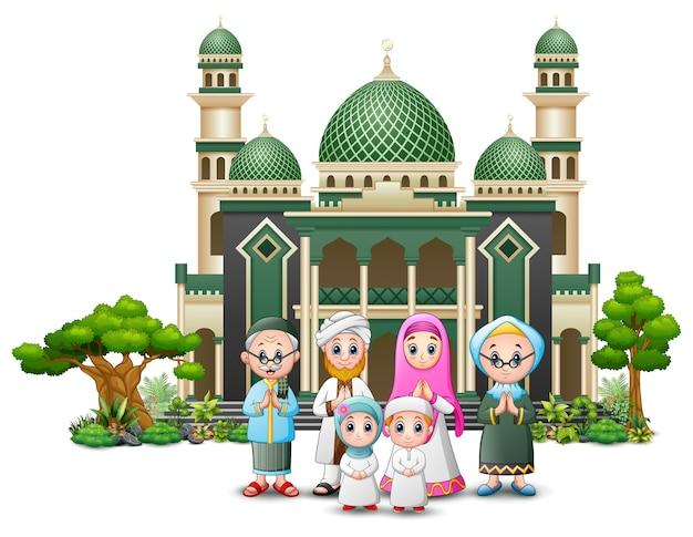 Glückliche islamische kinderkarikatur, die vor einer moschee spielt