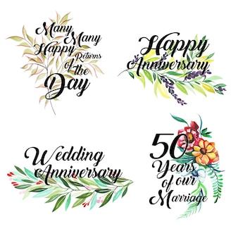 Glückliche jahrestags-logo-sammlung mit dem aquarell mit blumen