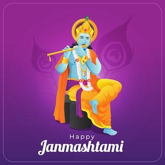 Glückliche janmashtami-grußkarte mit lord krishna, der goldene flöte spielt