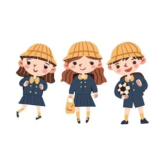 Glückliche japanische studenten, die uniformen tragen